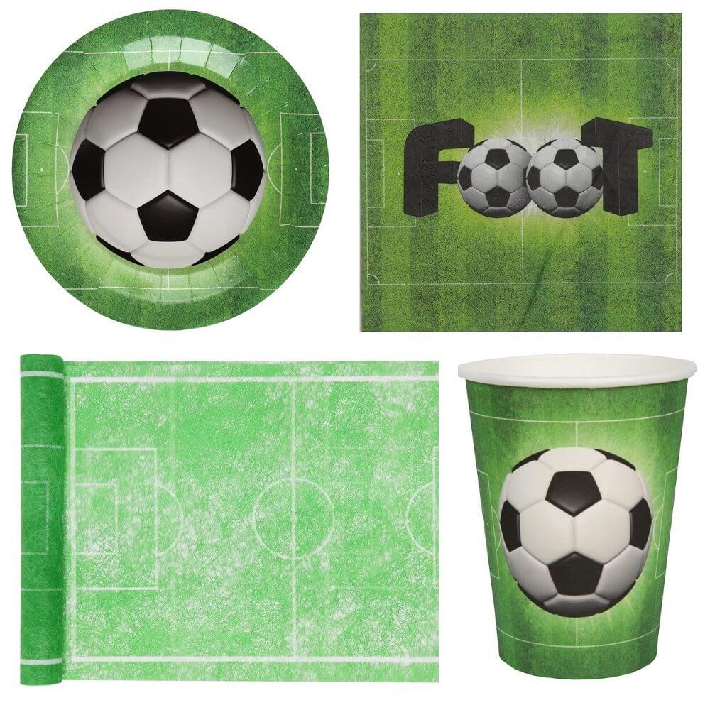 Pack anniversaire foot vert avec gobelet serviette chemin et assiette
