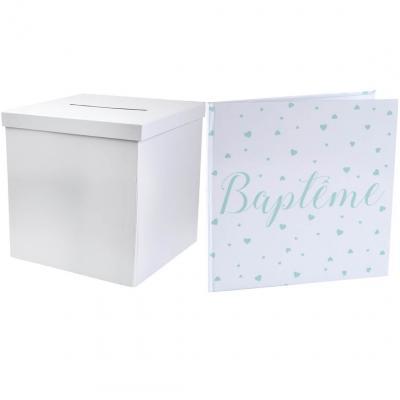 1 Pack urne carrée et livre d'or Baptême Mint REF/2911-6341