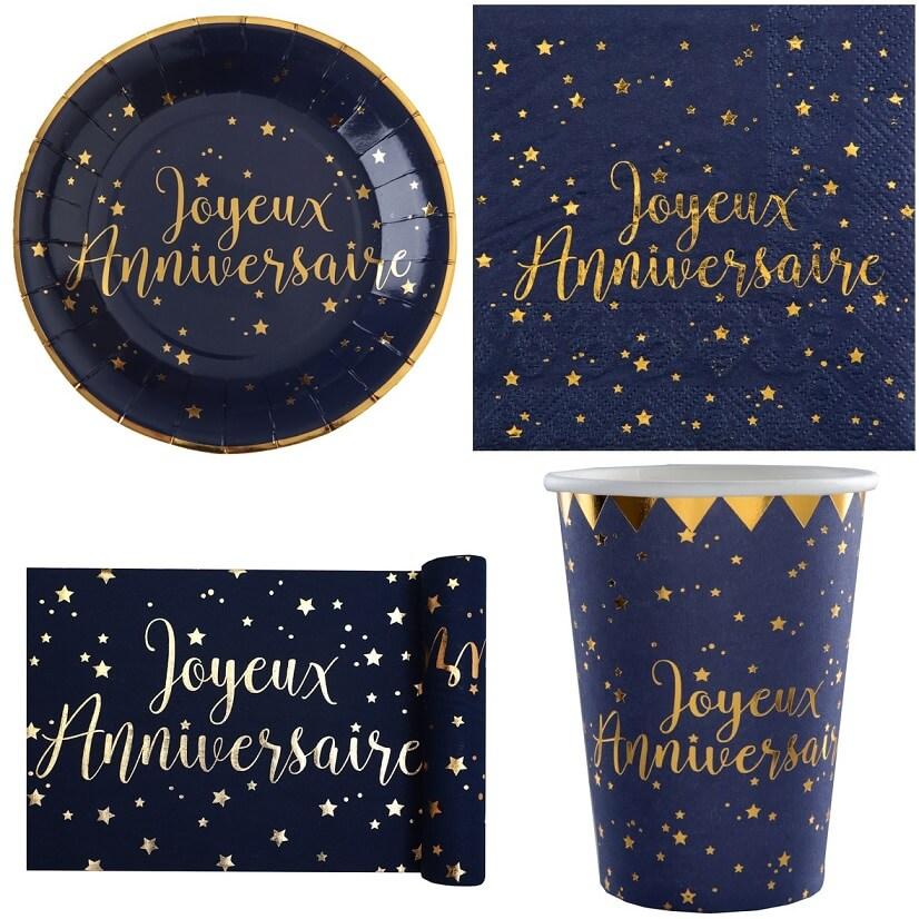 Pack decoration joyeux anniversaire bleu marine et or