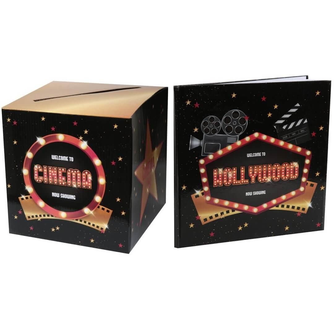 Pack decoration livre d or et urne cinema hollywood