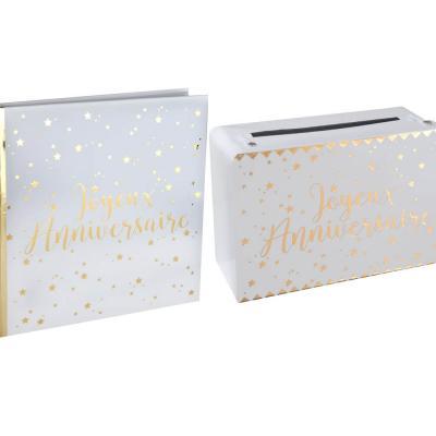 1 Pack anniversaire urne et livre d'or blanc et or REF/5664-5671