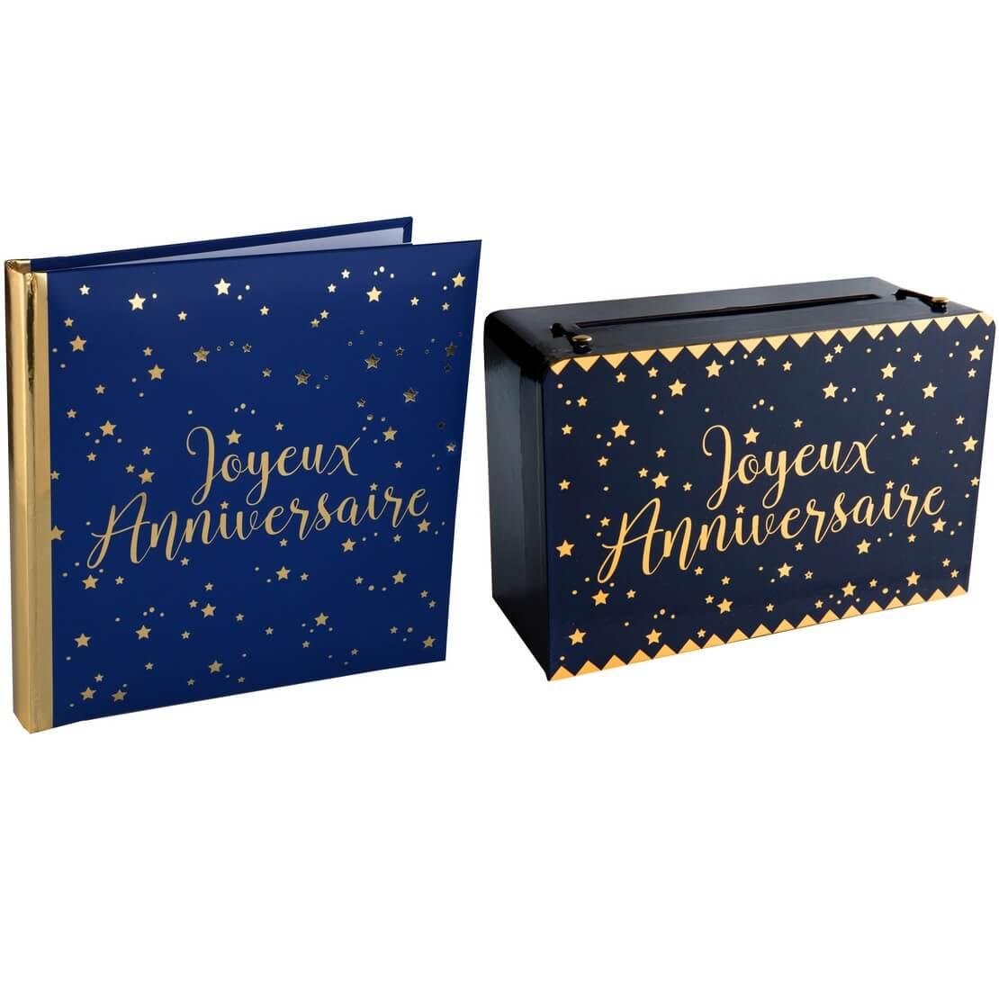 Pack joyeux anniversaire livre et tirelire bleu et or