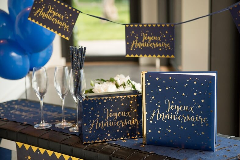 Pack joyeux anniversaire livre et urne bleu et or