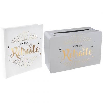 1 Pack urne et livre d'or retraite blanc et or R/5650-5728