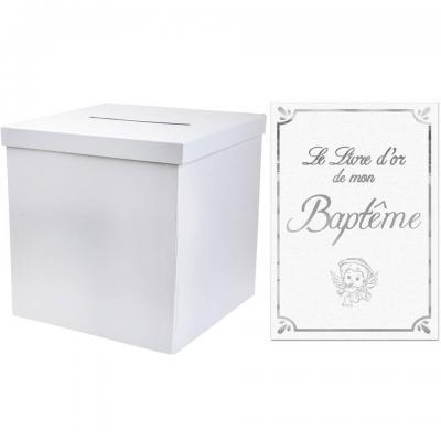 1 Pack urne carrée et livre d'or Baptême blanc et argent REF/2911-LDORB