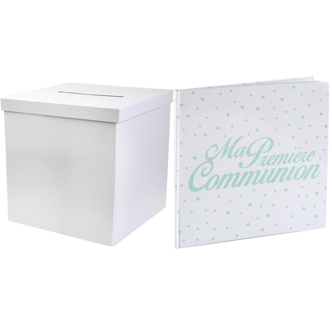 Pack livre d or et urne communion vert blanc