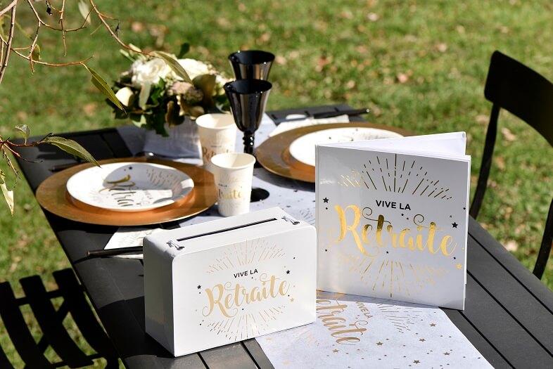Pack livre dor avec urne retraite blanc et or