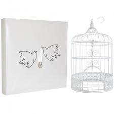 1 Pack mariage colombes avec urne cage et livre d'or REF/3871-3032