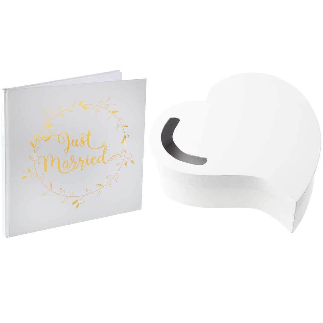 Pack mariage just married tirelire et livre d or blanc et dore