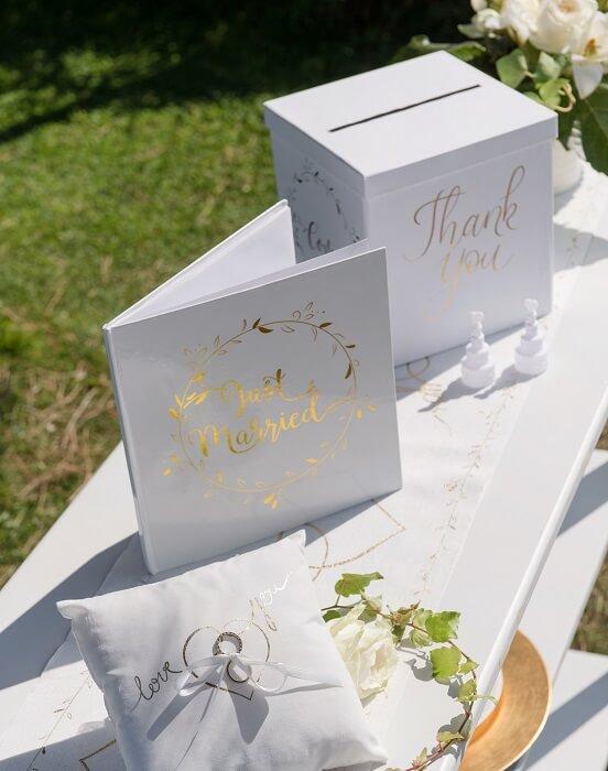 Pack mariage just married urne et livre d or blanc et dore