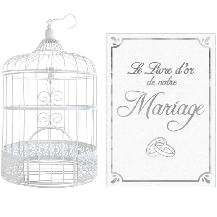 Pack mariage tirelire et livre d or blanc et argent