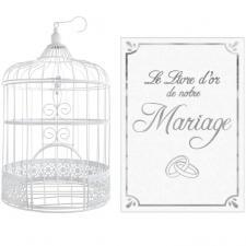 1 Pack livre d'or et urne mariage blanc et argent REF/3871-LDORM
