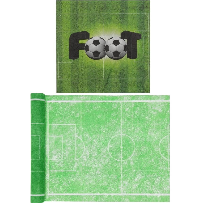 Pack serviette et chemin de table vert foot