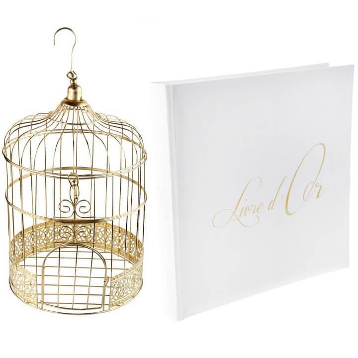 Pack urne cage avec livre d or blanc et or