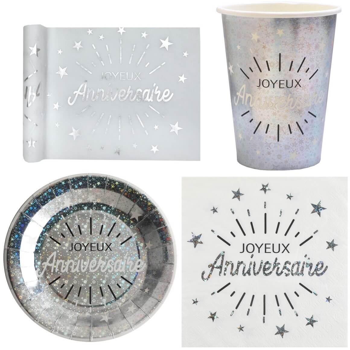 Pack vaisselle jetable joyeux anniversaire blanc et argent metallise