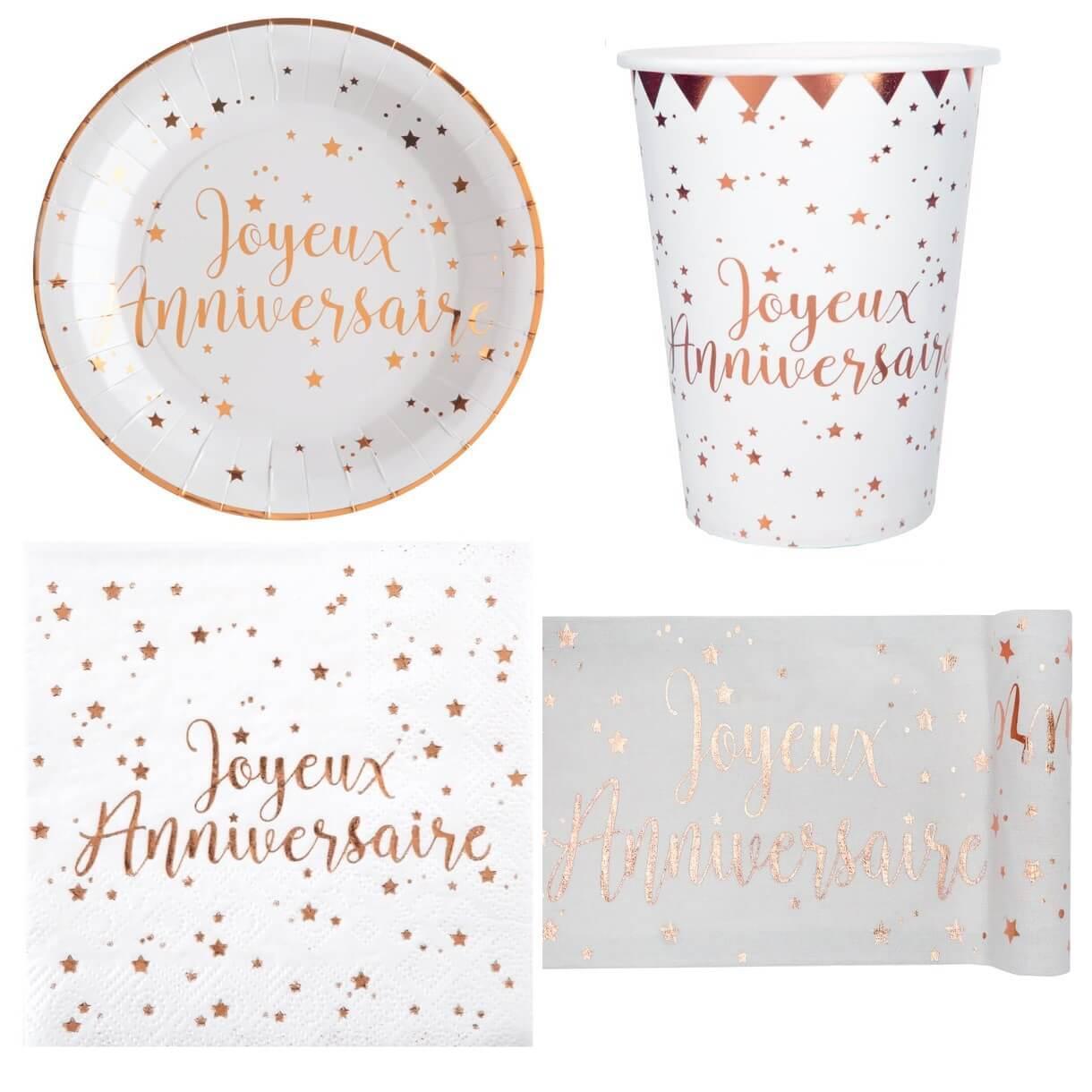 Pack vaisselle jetable joyeux anniversaire blanc et rose gold