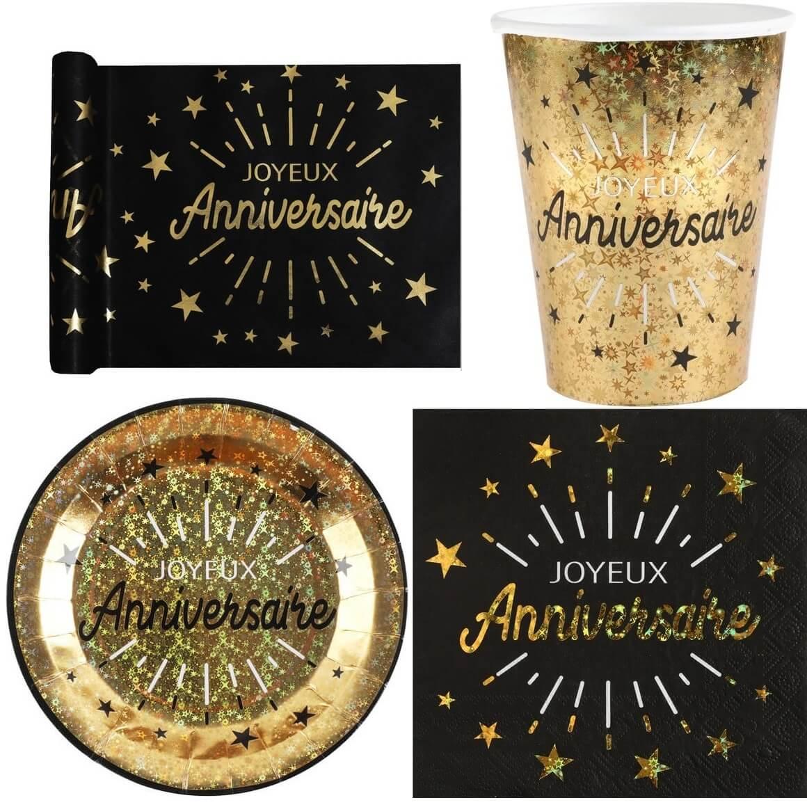 Pack vaisselle jetable joyeux anniversaire noir et or metallise