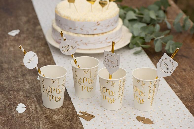 Paille mariage blanc et or