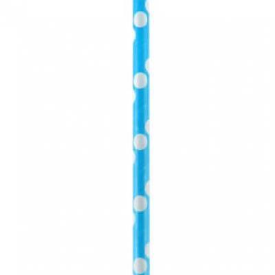 Paille pois bleu turquoise (x20) REF/4426