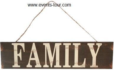 Panneau en bois vintage family (x1)