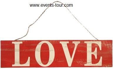 Panneau en bois vintage love (x1)