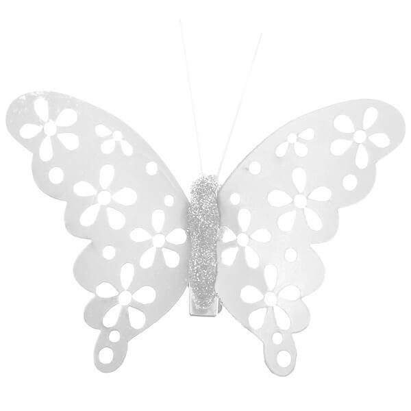 Papillon blanc metallique sur pince