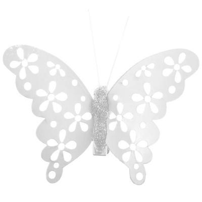 Papillon blanc métallique sur pince (x4) REF/4919