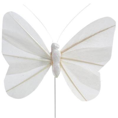 Papillon blanc sur tige (x6) REF/3526