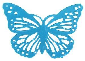 Papillon bleu turquoise plat en métal (x6) REF/4377