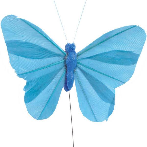 Papillon bleu turquoise sur tige x6 ref 3526 - Papillon sur tige ...
