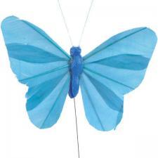 Papillon bleu turquoise sur tige (x6) REF/3526