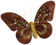 Papillon perle sur pince chocolat et or (x2) REF/2983