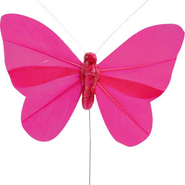 Papillon fuchsia sur tige