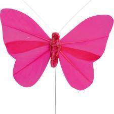 Papillon fuchsia sur tige (x6) REF/3526