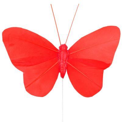 Papillon rouge sur tige (x6) REF/3526