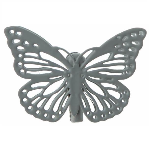 Papillon sur pince gris