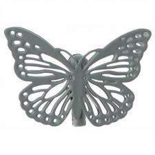 Papillon gris sur pince métal (x4) REF/3881