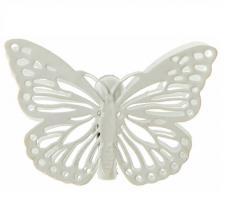 Papillon ivoire sur pince métal (x4) REF/3881