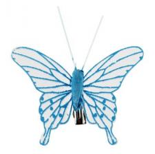 Papillon transparent bleu turquoise (x4) REF/5311