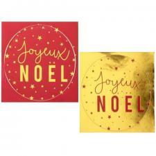 Pastille autocollante ronde Joyeux Noël rouge et or pour emballage des cadeaux (x16) REF/6145