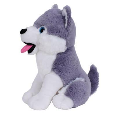Peluche chien husky 33cm gris blanc