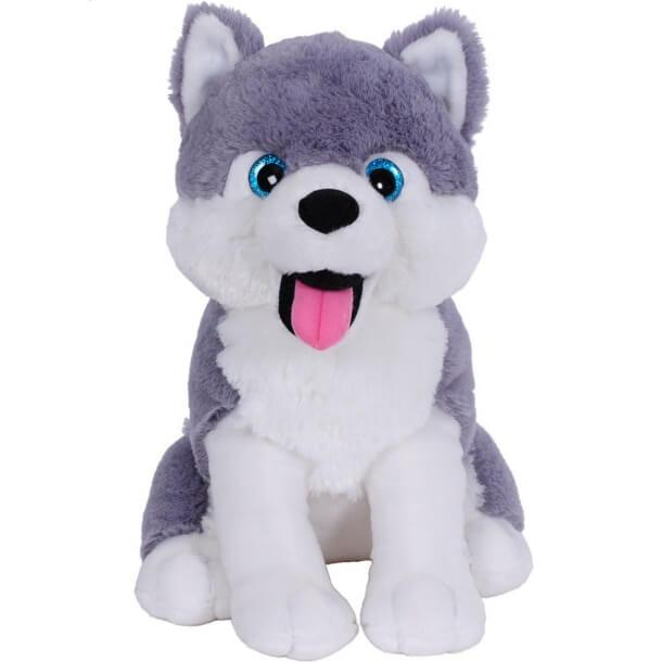 Peluche chien husky 33cm gris et blanc
