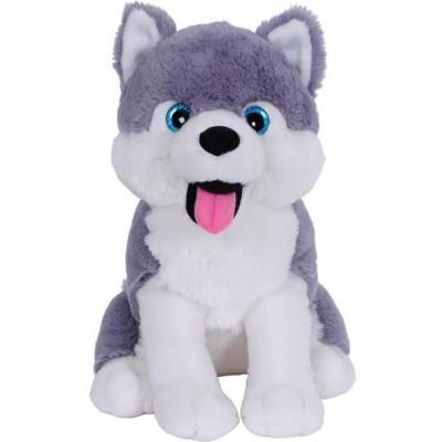 Peluche Bozami chien Husky assis en gris et blanc de 33cm (x1) REF/PDU300