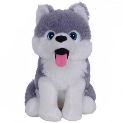 Peluche Bozami chien Husky assis de 26cm en blanc et gris (x1) REF/PDU300