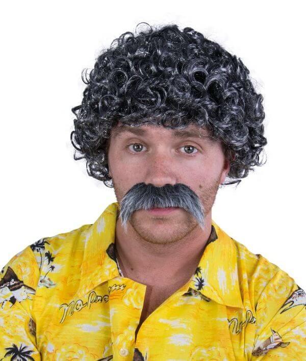 Perruque et moustache gris