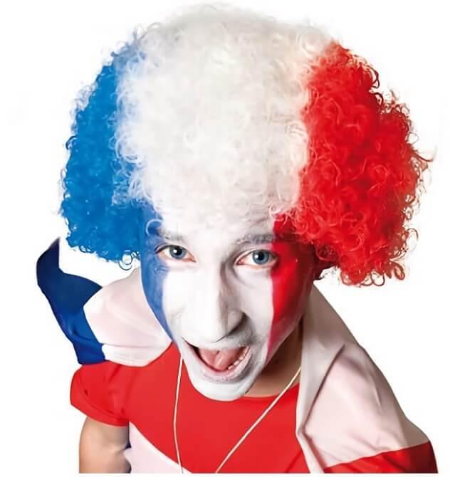Perruque frisee tricolore france bleu blanc et rouge