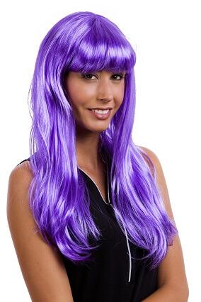 Perruque longue violet