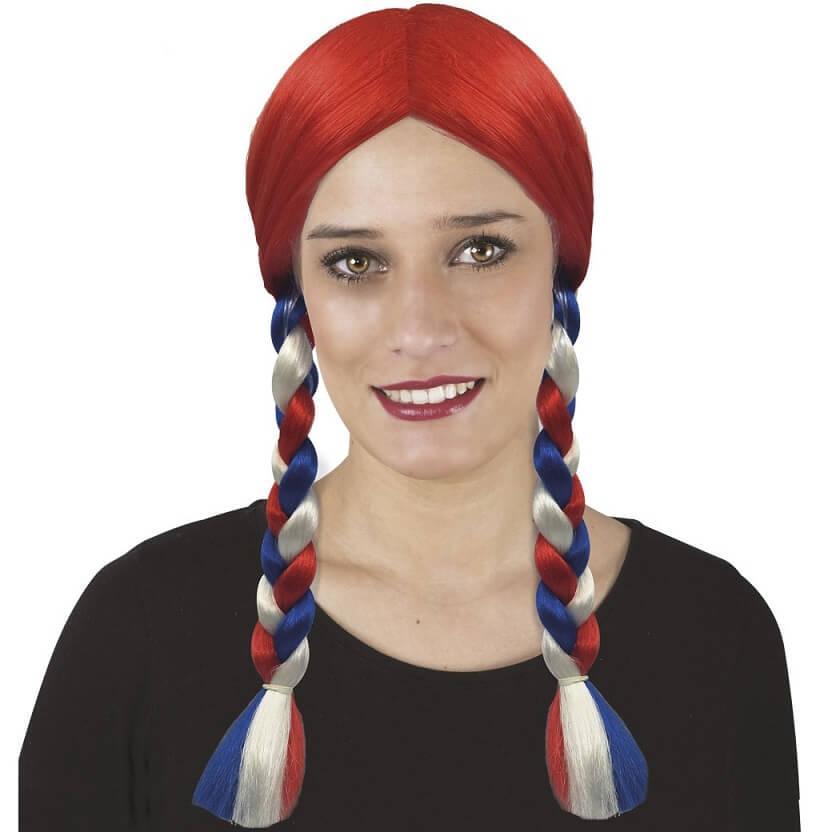 Perruque rouge avce tresse tricolore france bleu blanc rouge