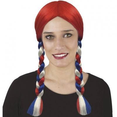 Perruque rouge avec tresse tricolore France bleu, blanc et rouge (x1) REF/32579