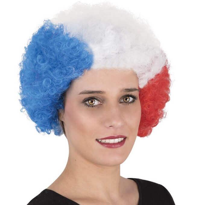 Perruque tricolore france afro bleu blanc et rouge